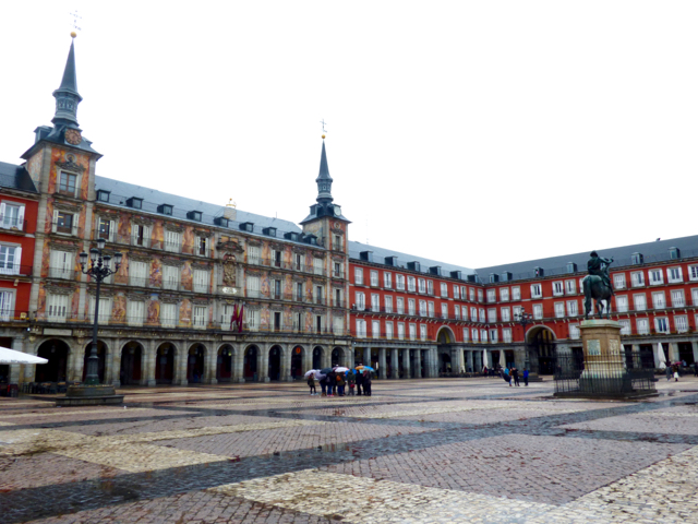 Plaza Mayor Madrid on a rainy day, top sight for a 6 hour layover in Madrid