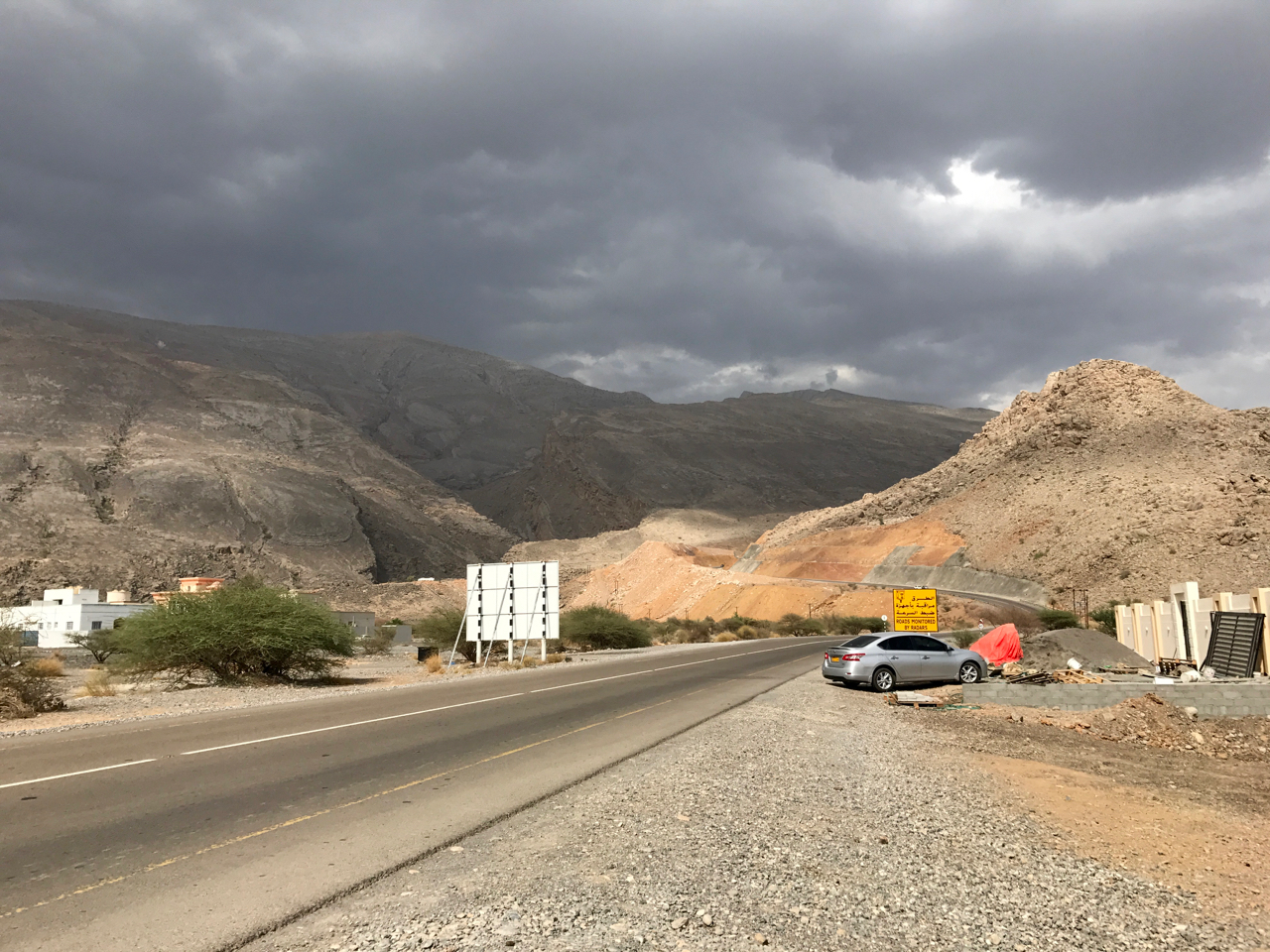 Road trip in Oman - winding roads and mountains
