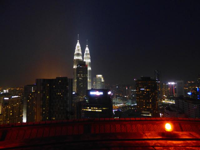 Heli-Lounge Kuala Lumpur view of Petronas Towers, 34 stories high