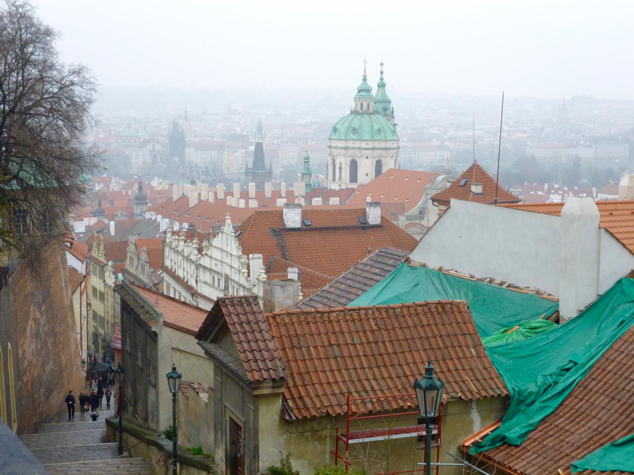 Prague Cityscape Shrouded in Fog
