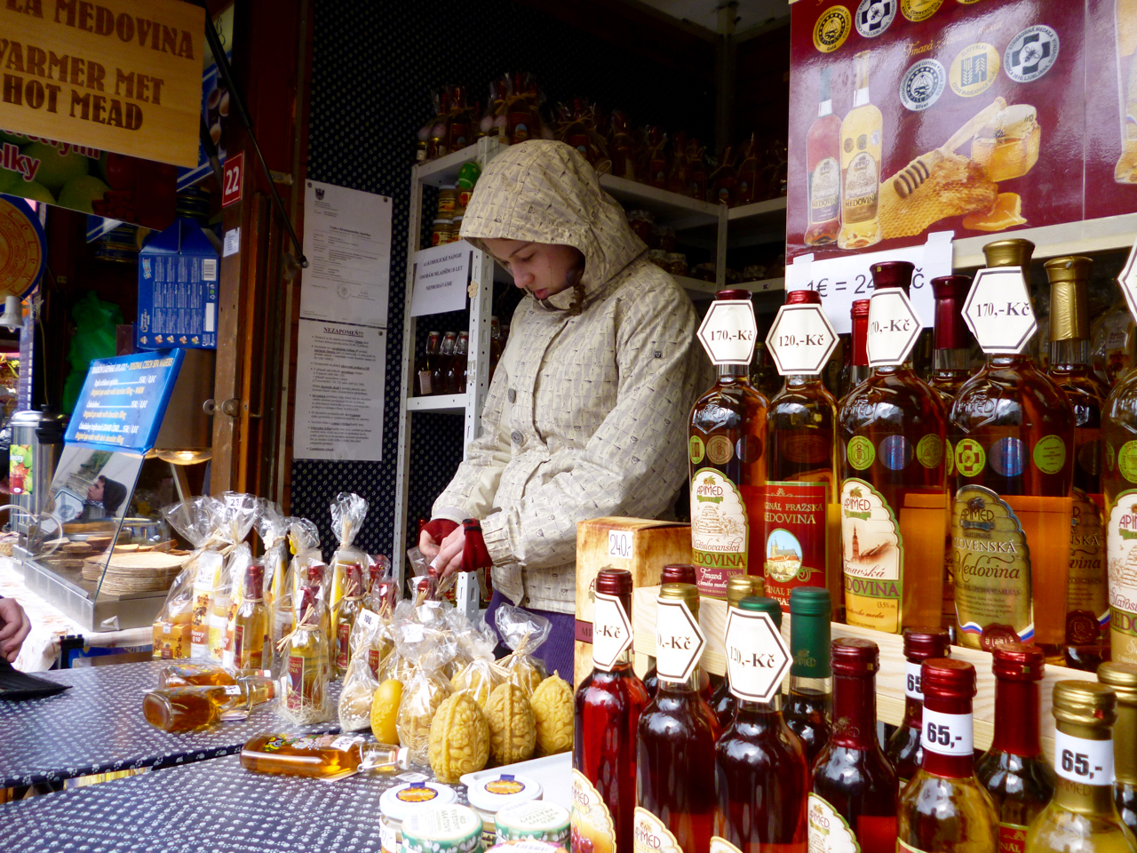 Stall selling Czech sweets and drinks