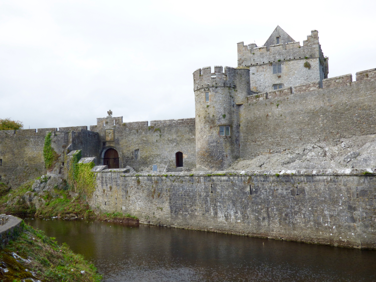 Cahir Castle Ireland from outside with moat