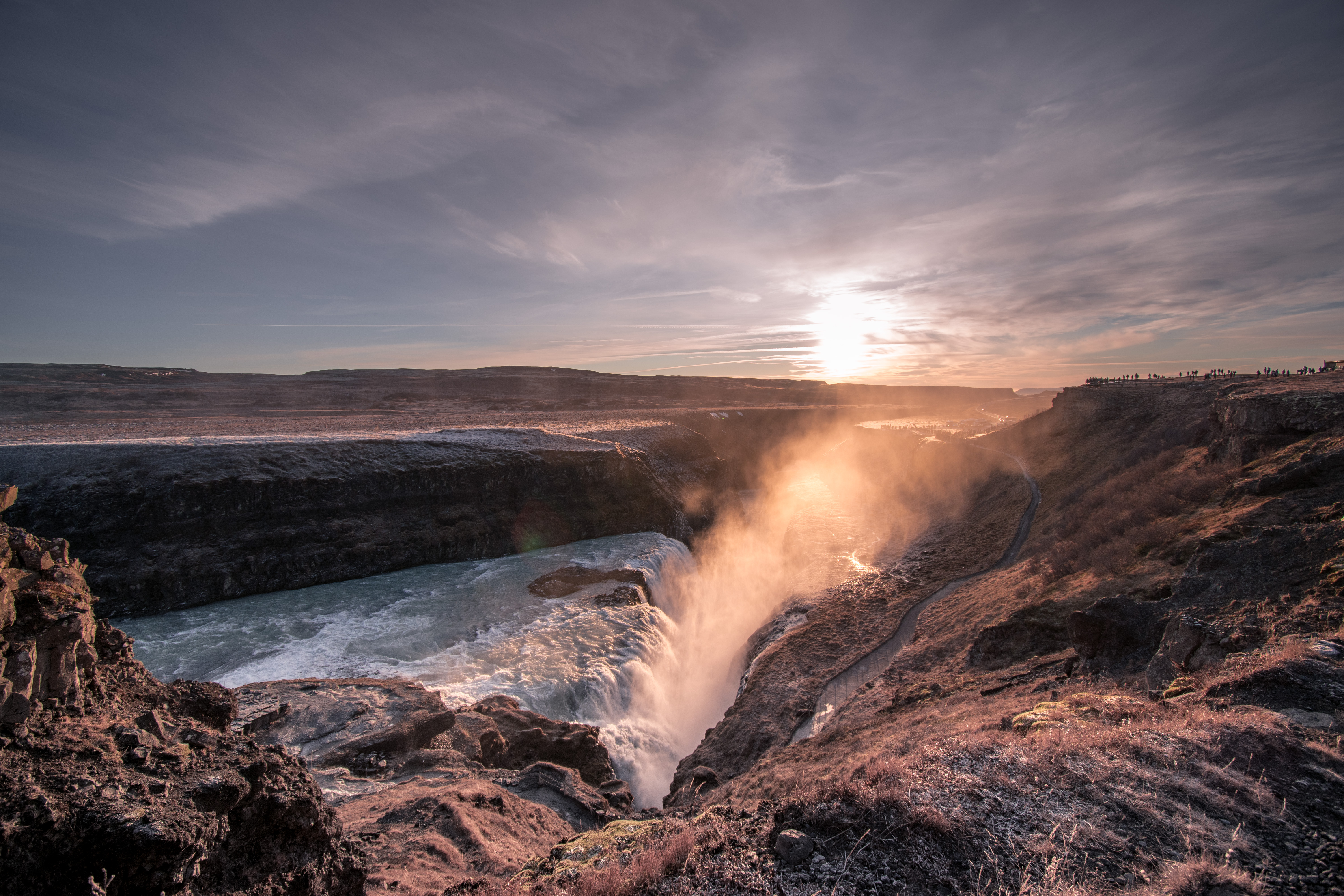 Gulfoss Waterfall spray at sunset Iceland