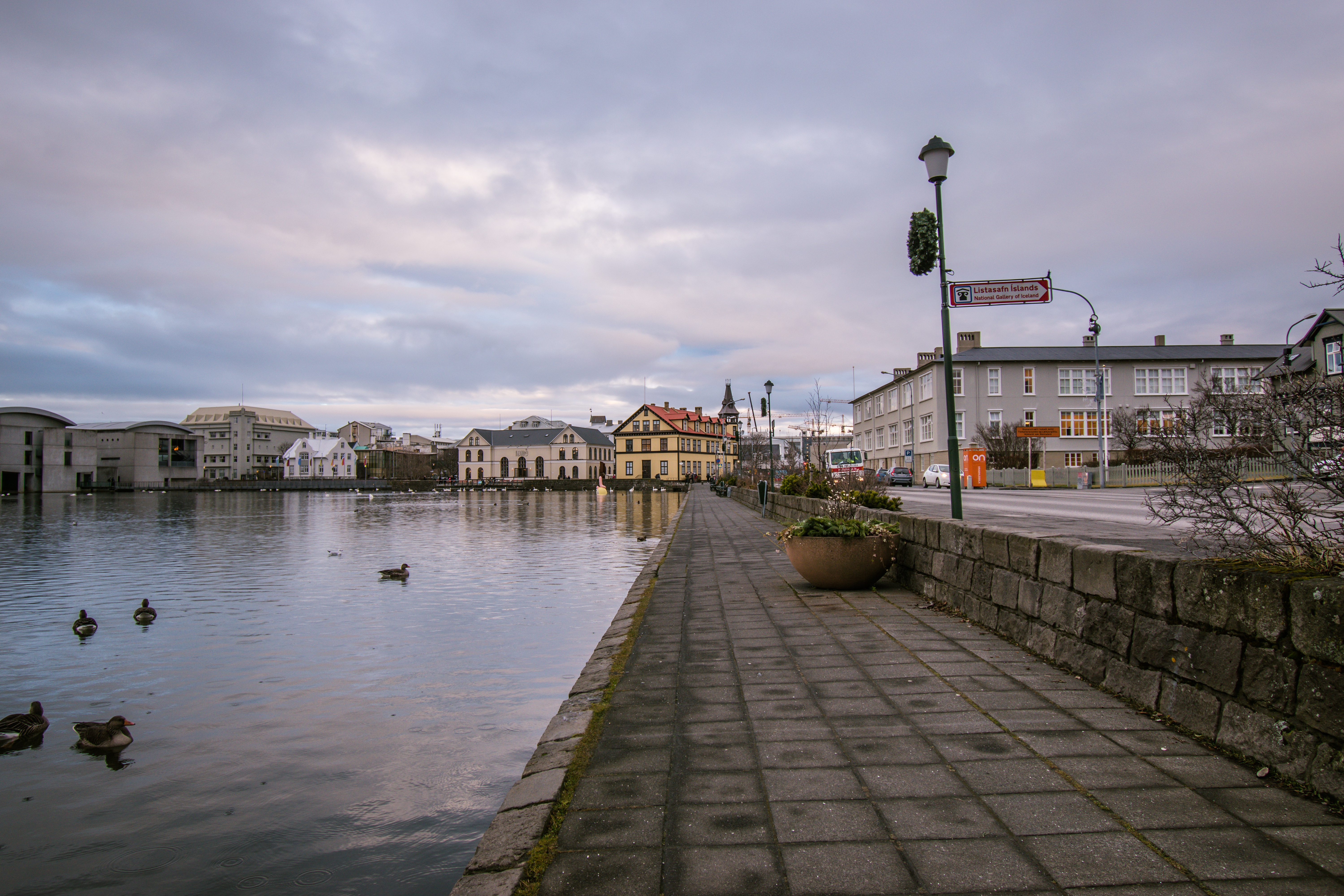 Tjornin lake Reykjavik, south Iceland itinerary