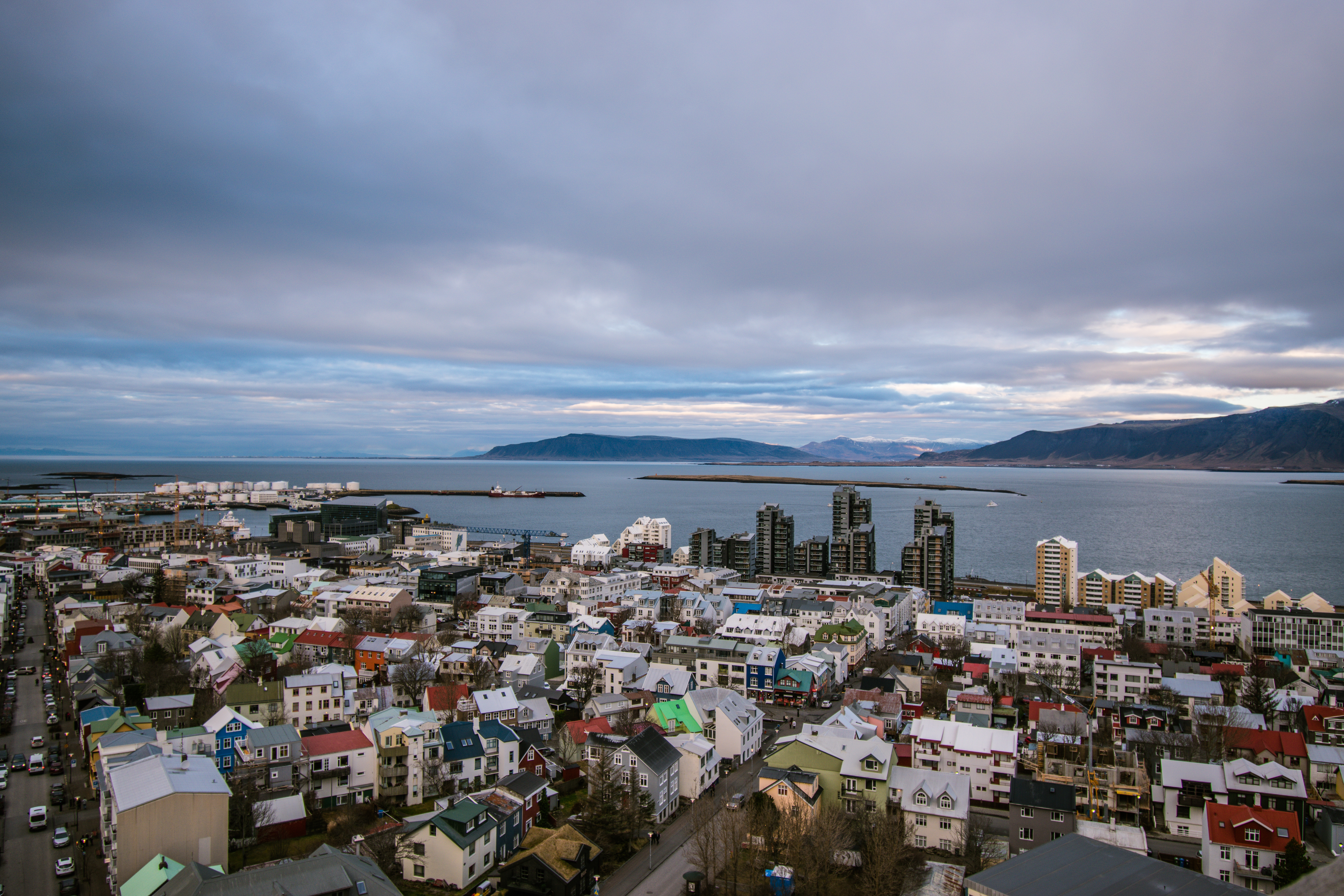 View from top of Hallgrímskirkja Church Reykjavik Iceland